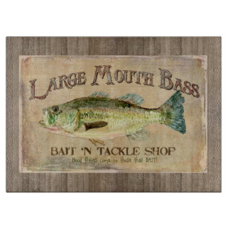 Large Mouth Bass Fisherman Cabin Wood Boards