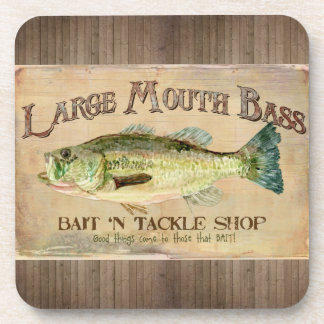 Large Mouth Bass Fisherman Cabin Wood Boards Coaster