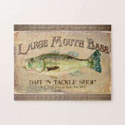 Zazzle Large Mouth Bass Fisherman Cabin Wood Boards Jigsa...