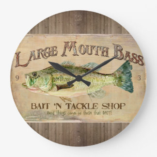 Large Mouth Bass Fisherman Cabin Wood Boards Large Clock