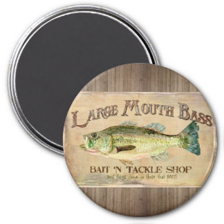 Large Mouth Bass Fisherman Cabin Wood Boards Magnet
