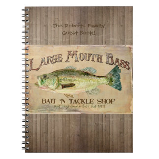 Large Mouth Bass Fisherman Cabin Wood Boards Notebook