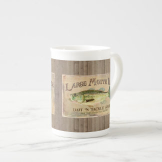 Large Mouth Bass Fisherman Cabin Wood Boards Tea Cup