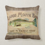 Large Mouth Bass Fisherman Cabin Wood Boards Throw Pillows