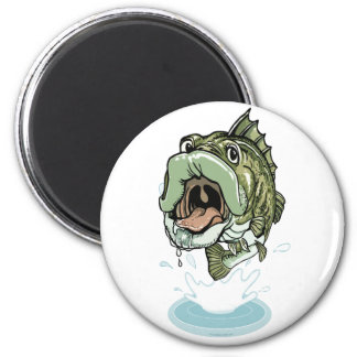 Large Mouth Bass Fishing Design Magnet