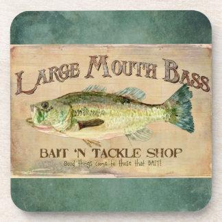 Large Mouth Bass Fishing Lake Cabin Decor Blue Coaster