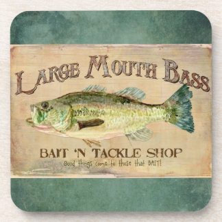 Large Mouth Bass Fishing Lake Cabin Decor Blue Drink Coaster