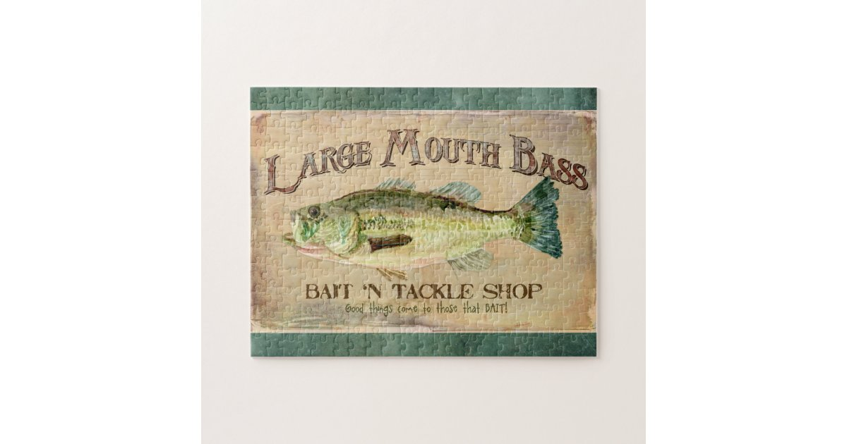 Large Mouth Bass Fishing Lake Cabin Decor Blue Jigsaw Puzzle Zazzle