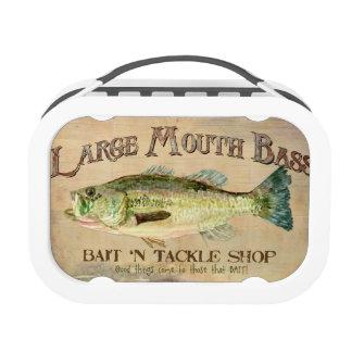 Large Mouth Bass Fishing Lake Cabin Decor Blue Lunch Box