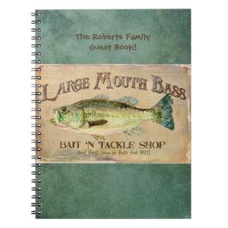 Large Mouth Bass Fishing Lake Cabin Decor Blue Notebook