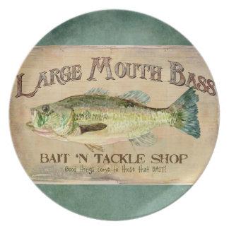 Large Mouth Bass Fishing Lake Cabin Decor Blue Plate