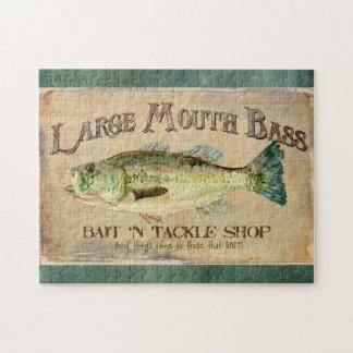 Large Mouth Bass Fishing Lake Cabin Decor Blue Puzzle