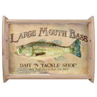Large Mouth Bass Fishing Lake Cabin Decor Blue Serving Trays