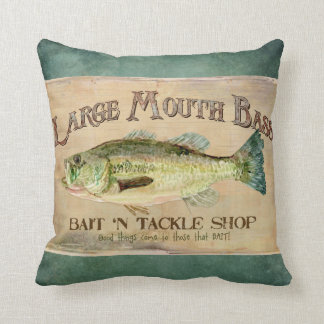 Large Mouth Bass Fishing Lake Cabin Decor Blue Throw Pillow