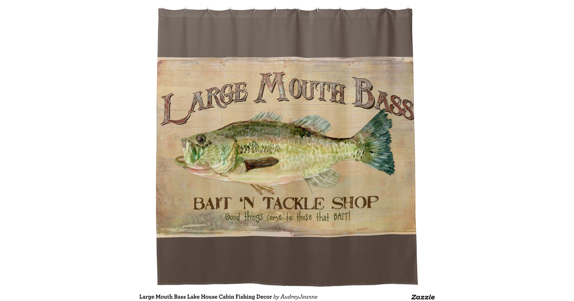 Large Mouth Bass Lake House Cabin Fishing Decor Shower