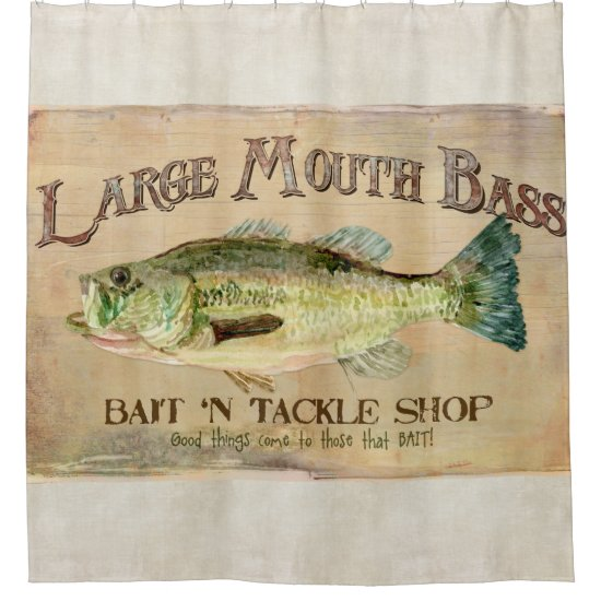 Large Mouth Bass Lake House Cabin Fishing Decor Shower Curtain