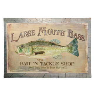 Large Mouth Bass Lakeside Fishing Cabin Wood Cloth Placemat