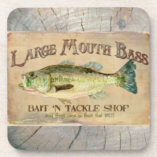 Large Mouth Bass Lakeside Fishing Cabin Wood Drink Coasters