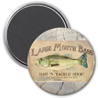 Large Mouth Bass Lakeside Fishing Cabin Wood Magnet