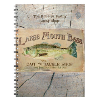 Large Mouth Bass Lakeside Fishing Cabin Wood Spiral Notebooks