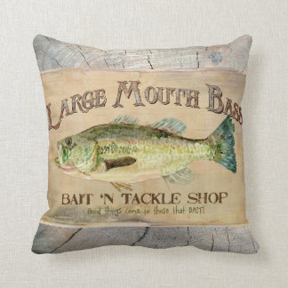 Large Mouth Bass Lakeside Fishing Cabin Wood Throw Pillow