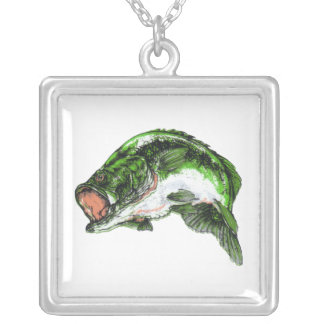 Large mouth Bass Square Pendant Necklace