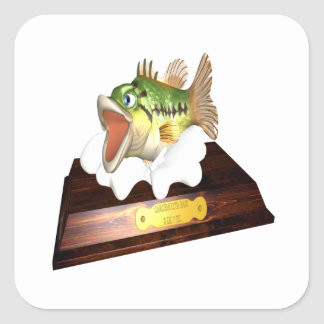 Large Mouth Bass Trophy Square Sticker