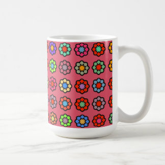 "Large Mug model ""Flowers on dark pink bottom """