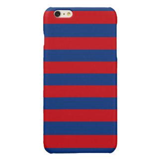Large Nautical Theme Horizontal Stripes Glossy iPhone 6 Plus Case