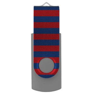 Large Nautical Theme Horizontal Stripes Swivel USB 2.0 Flash Drive