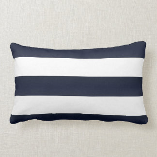 Large Navy Blue and White Stripes Lumbar Pillow