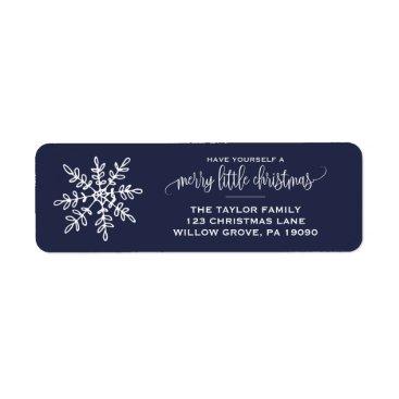 Christmas Themed Large Navy Snowflake Christmas Label