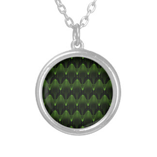 Large Neon Green Alien Head Pattern Round Pendant Necklace