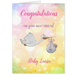 Large New Baby Girl design Card