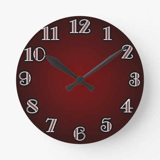 Large Numbers Red Wall Clocks Zazzle