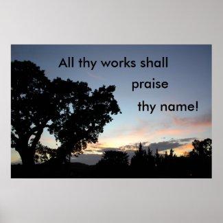 Large oak at sunset declares its Maker's praise. Poster