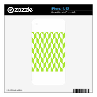Large offset chevron pattern in lime green iPhone 4S decal