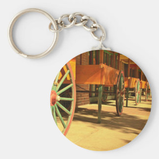 Large Old Fashioned Wagon Wheels Basic Round Button Keychain