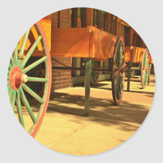 Large Old Fashioned Wagon Wheels Classic Round Sticker