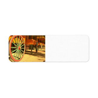 Large Old Fashioned Wagon Wheels Label