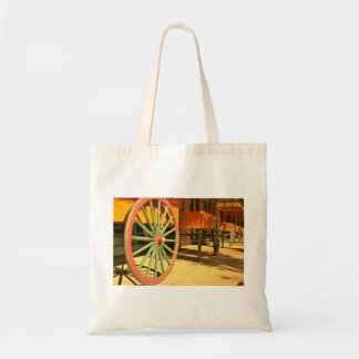 Large Old Fashioned Wagon Wheels Tote Bag