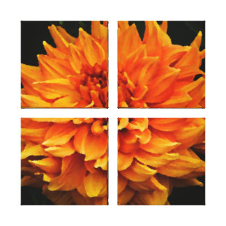 Large Orange Dahlia Gallery Wrapped Canvas