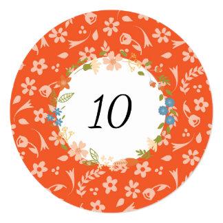 Large Orange Floral Custom Table Number Card