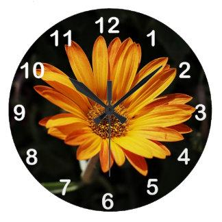 Large Orange Flower Wall Clock