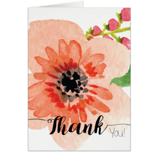 Large Orange Watercolor Flower | Thank You Card