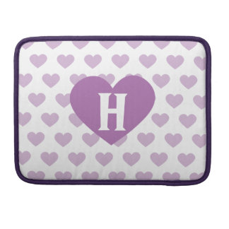 Large Orchid Purple Heart - Monogram MacBook Pro Sleeve