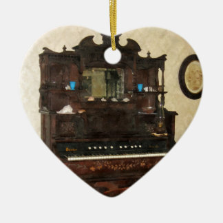 Large Organ in Parlor Double-Sided Heart Ceramic Christmas Ornament
