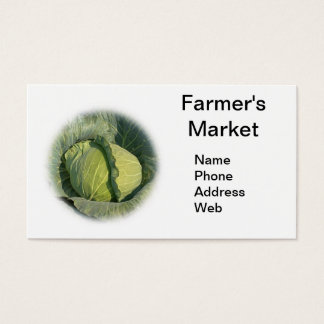 Large Organic Green Cabbage Business Card