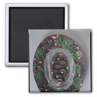 Large oval dish moulded in relief 2 inch square magnet