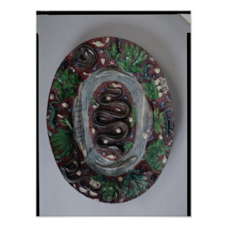 Large oval dish moulded in relief poster